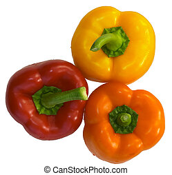 Bell pepper 3 - Three brightly coloured capsicums