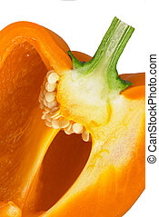 Bell pepper 7 - Close-up on a section of an orange bell...