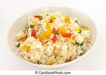 Veg fried rice 1 - A bowl of vegetable fried rice, with bell...