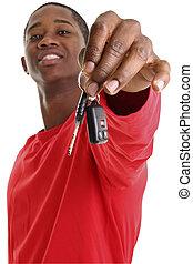 désinvolte, homme, voiture, clés