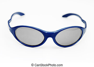Sunglasses - A pair of blue sunglasses isolated on a white...