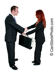 Man Woman Money - Business Man and Woman Shaking Hands Over...