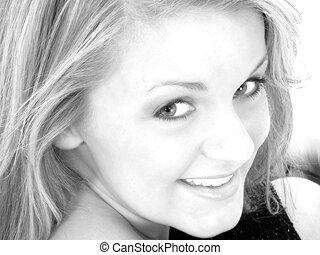 Teen Girl Portrait - Beautiful Young Woman With Blonde Hair...