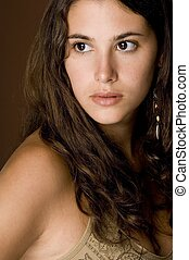 Natural Beauty 15 - A beautiful young woman with brown curly...