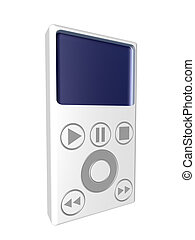 MP3 Player - isol. - 3D rendering of an generic MP3 Hardware...