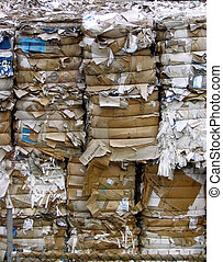 paper recycling - Piles of paper at a recycling plant in...