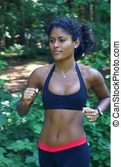 Jogging woman - Beautiful brazilian woman out for a run