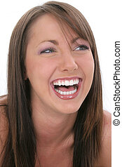 Woman Laughing - Beautiful eighteen year old young woman...