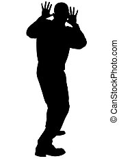 Silhouette Scared - Silhouette over white with clipping path...