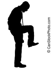 Silhouette Stomping - Silhouette over white with clipping...