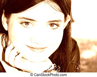 Tween Girl Portrait - Beautiful Tween Girl Sitting Outside...