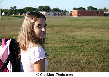 Back to school 3 - Teenage girl heading to school