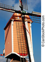 Windmill. - An old windmill along the road in Belgium