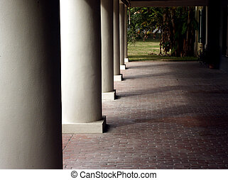 Tall Columns - Tall columns on shaded patio on plantation...