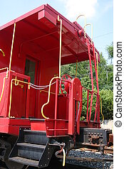 Red Caboose2 - Red caboose with yellow rails and step on...