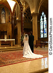Bride and Groom at altar portrait - Bride and Groom at Altar...