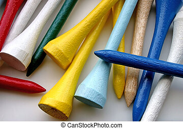 Closeup of Colorful Wooden Golf Tees