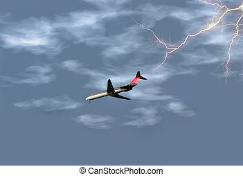 Airplane in Storm - Airplane getting ready to land in the...