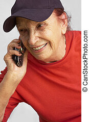 grandmama speaking on the mobile phone