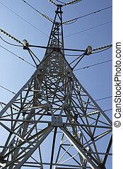 alto-voltagem, linha, céu, fundo