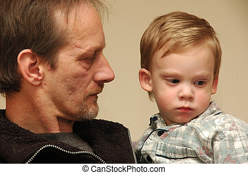 Grandchild. - Grandfather and child.