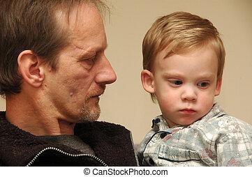 Grandchild. - Grandfather and child.