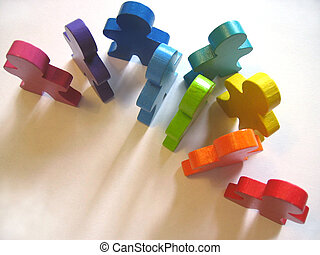 Workplace Diversity - A crowd of colorful wooden people