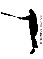 Silhouette Softball - Silhouette over white with clipping...