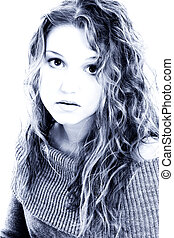 Dramatic Portrait of Sixteen Year Old Girl in Blue tones....