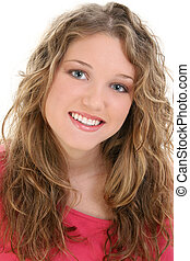 Teen Girl Portrait - Close up of beautiful teen girl with...