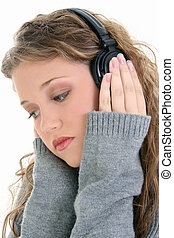 Teen Girl Headphones - Beautiful sixteen year old teen girl...