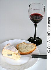 Winetasting - Digital photo of wine,cheese and bread