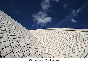 Sydney Opera House - abstract view of the side of the famous...