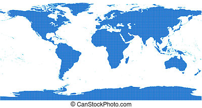 Blue world map with small grid