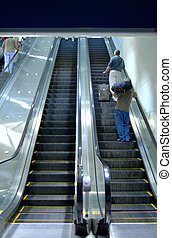 Airport Escalator - Airport escalator (12MP camera). Focus...