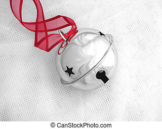 Jingle Bell - Shiny silver jingle bell with star cutout and...