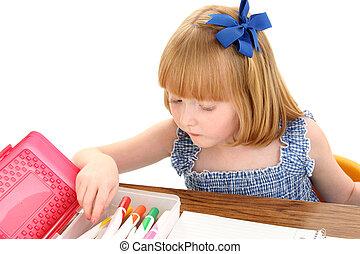Girl Child School - Beautiful little girl at school desk...