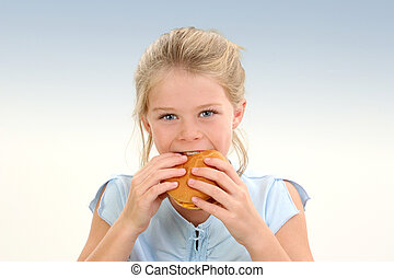 Girl Child Food - Beautiful Little Girl Eating a...
