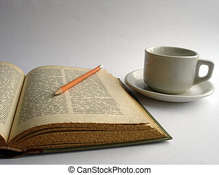 Open book - open book with pencil and coffee cup