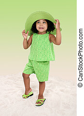 Girl Child Hat Green - Beautiful Young Girl Standing In The...