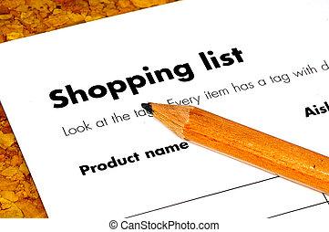 Shopping List - Pencil and a shopping List