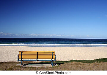 Bench by the Sea - an empty bench by the beach at Surfers...