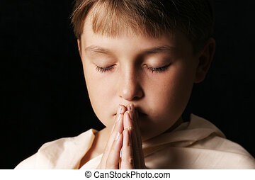 Pray - Child in prayer - horizontal softness added