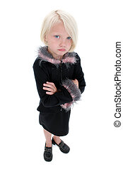 Girl Child Pout Sad - Beautiful Little Pouting Girl In Black...