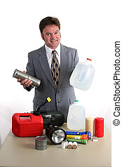 Hurricane Kit - Food & Water - a weatherman showing a...