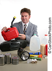 Hurricane Kit - Gas Can - A weatherman displaying disaster...