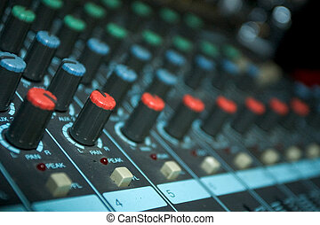 Sound Mixer - Detail of sound mixer console for live...