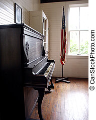 Old School - Piano and flag in former Harris School,...