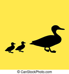 Mother and ducks - Silhouette of three ducks