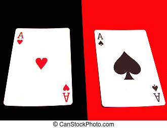 aces - red ace on black, black ace on red